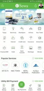 eSewa mobile application home page screenshot