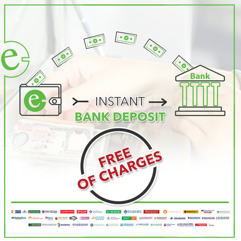 Instant bank deposit free of charges